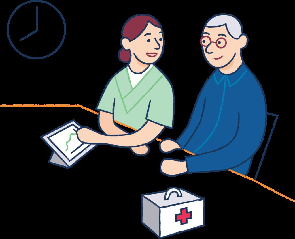 Borger og sygeplejerske kigger på tablet