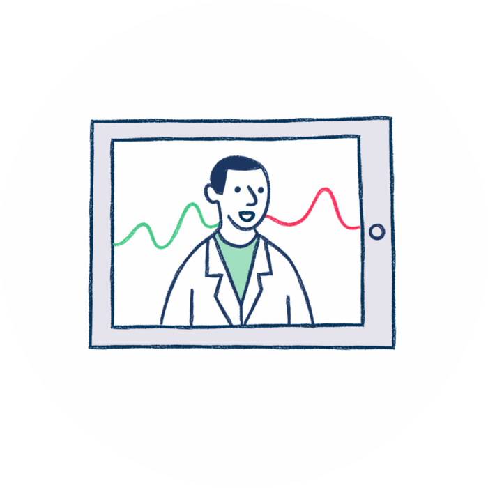 Tablet med borgerens data og tilknyttet læge